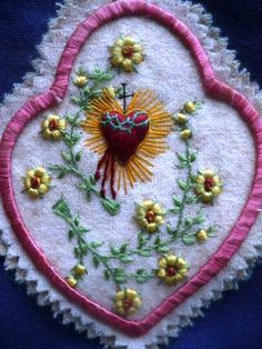 Antique Beautiful Sacred Heart of Jesus Silk Embroidery Scapular Relics Nice | eBay