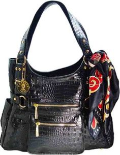 Vecceli Italy Alligator Embossed Black Handbag Designed By Ronella Lucci As-166alliblk
