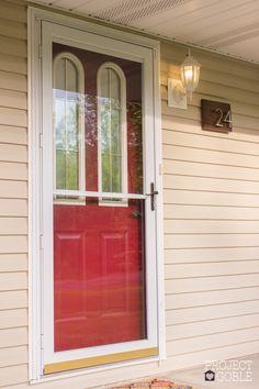 Never Fade Front Door Paint - DIY Makeover with Modern Masters Passionate Front Door Paint - www.ProjectGoble.com