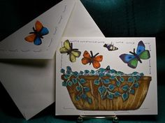 NOTECARDSButterflies and Flowers by acraftingheart on Etsy