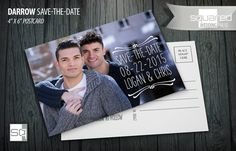 Gay Save the Date Modern Photo Postcard - Custom designed and printed by SquaredWeddingPress and @printableparty. Original wedding photo post card design for LGBT or gay weddings. #savethedate Your photo post card with bespoke star motif.