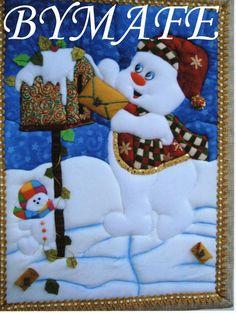 Muñeco de nieve,tecnica ,patchwork sin aguja