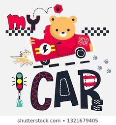 Cute teddy bear cartoon driving a red race car illustration, Vector print for children wear. Teddy Bear Cartoon, Cute Cartoon, Funny Pajamas, Kids Wear, Children Wear, Car Illustration, Embroidery Patterns, Baby Kids, Kids Fashion