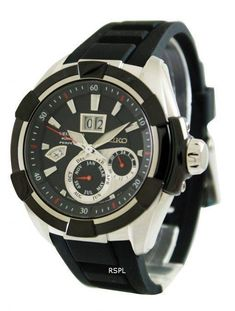 Features:  Stainless Steel Case with Black Hard Coating Black Silicon Band Fixed Black Ion-plated Stainless Steel Bezel Kinetic Movement Caliber: 7D48 Anti-Reflective Coated Sapphire Crystal Screw Case Back Perpetual Calendar Leap Year Indicator Power save Function Time Relay System Large Double-Window Date Calendar at 12 O'clock Buckle Clasp 100M Water Resistant  Approximate Case Diameter: 46.30mm Seiko Perpetual Calendar, Seiko Sportura, White Watches For Men, Seiko Presage, Double Window, Seiko 5 Sports, Seiko Diver, Seiko Men, Seiko Watches
