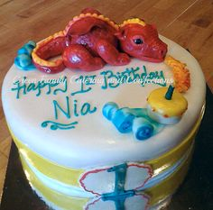 Baby Dragons First Birthday Cake by @greencakesnfam