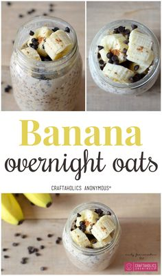 Delicious and easy overnight oats - make them on Sunday night for breakfast all week! Banana Overnight Oats from Craftaholics Anonymous®