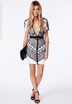 Adelais V-Neck Bodycon Mini Dress With Eyelash Lace - Dresses - Bodycon  Dresses - ff9f34e574f6