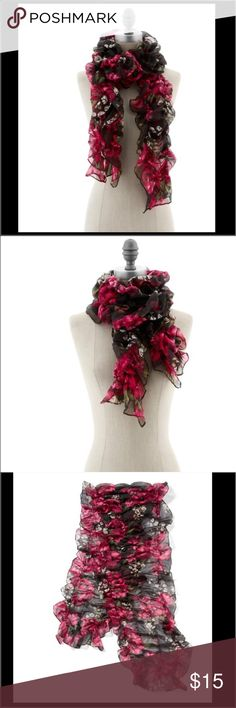 "WHBM RUFFLED FLORAL SCARF Worn once or twice still looks like new. Great at playing off neutrals, a ruffled oblong scarf in a fall-into-winter floral featuring Couture Pink, Merlot and Pistachio green. 72"" x 20"". 100% Rayon with elastic. Hand wash. White House Black Market Accessories"