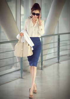 Skirt outfits that give you a polished, professional look. ... Cobt blue skirt, beige top, brown pumps