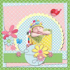 Birds & Blooms Digital Scrapbook Kit (Spring Pink, Yellow, Green, Blue)