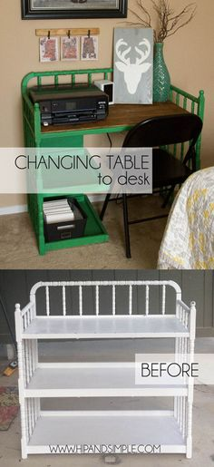 Changing Table Converted to Desk - love the fun color and shelves. Great repurpose