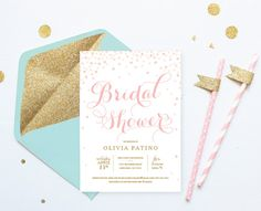Pink and Gold Bridal Shower Invitations Printable - Digital Download. Listing shows 2 options: Pink Text or Gold Glitter Text. If you have a