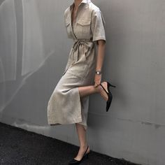 Love Fashion, Korean Fashion, Vintage Fashion, Womens Fashion, Beige Outfit, Neutral Outfit, Linen Dresses, Casual Dresses, Chic Outfits