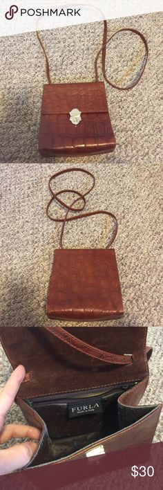 Furla leather crossbody Authentic leather furla crossbody. In good condition outside. Some wear inside. 6.5x7x3 Furla Bags Crossbody Bags
