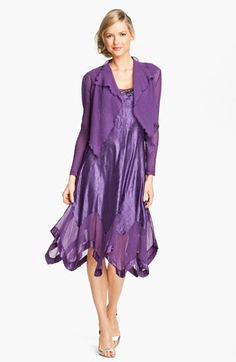 Komarov Handkerchief Hem Charmeuse Dress & Chiffon Jacket available at #Nordstrom    wow I love this dress!