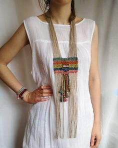 Stunning woven tribal necklace, nomad style, with large sterling silver engraved bead on colorful jute and hemp cord. Colors: ocean and sky blue, rusty red,. Macrame Colar, Macrame Necklace, Tribal Necklace, Tribal Jewelry, Bohemian Jewelry, Hemp Jewelry, Gold Jewellery, Jewellery Shops, Silver Jewelry