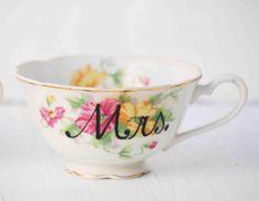 Mr. and Mrs. Hand Painted Vintage  TEA CUPS Wedding Bride & Groom