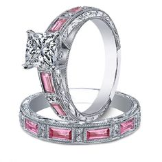 Princess Diamond engagement ring & matching wedding band bridal set Pink sapphire accents engraved vintage band