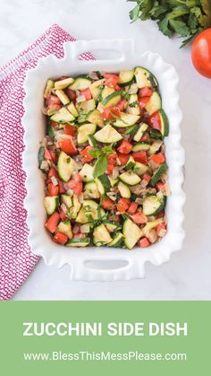 This zucchini side dish is full of onion, tomato, herbs, and of course zucchini to make a bright and fresh side that tastes out-of-this-world delicious! Zucchini Side Dishes, Easy Zucchini Recipes, Yummy Vegetable Recipes, Healthy Zucchini, Chicken Recipes, Healthy Recipes, Delicious Recipes, Clean Eating Meal Plan, Clean Eating Recipes
