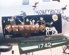 """""""Honeybucket Honsho."""" The B-29's large fuselage made an ideal canvas for nose art. (U.S. Air Force photo)"""