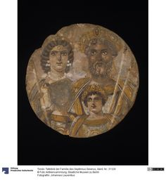 Tondo: panel picture of the family of Septimius Severus. Panel painting (mosaic / painting / use / painting). More specifically: around 200 AD. Tempera on wood. Ancient Egyptian Jewelry, Tempera, Mosaic, Coins, Roman, Pictures, Painting, Wood, Art