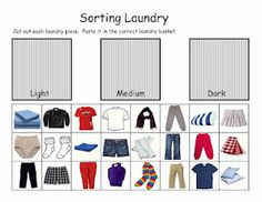 Life Skills - Sorting Laundry cut and paste worksheet