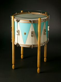 Side Table - Vintage Ludwig drum cocktail table by ArtisanworksInc - whimsical & fun
