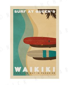 Waikiki Surf at Queen's 12x18 Retro Hawaii by EverythingIsJake