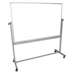 """69"""" X 60"""" MAGNETIC, REVERSIBLE STEEL DRY ERASE BOARD, MOBILE/CASTERS"""