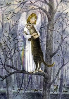Vladimir Rumyantsev hug angels cat world oil painting wall Art Picture Paint on Canvas Prints wall painting no framed Art And Illustration, Illustrations, I Love Cats, Crazy Cats, Gato Angel, Images D'art, Angel Art, Rainbow Bridge, Wall Art Pictures