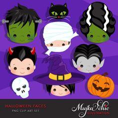 Halloween Faces Clipart. Halloween graphics, Frankenstein, bride of Frankenstein, mummy, pumkin, Dracula, black cat, witch, Devil, skull.