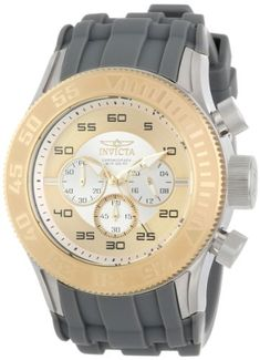 Men's Wrist Watches - Invicta Mens 14975 Pro Diver Chronograph Silver Gold Dial Grey Silicone Watch * Read more reviews of the product by visiting the link on the image.