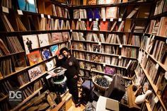 Questlove and his records | via Dust and Grooves