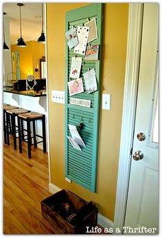 A shutter repurposed to a cute bulletin board:) Can also be used for jewelry by putting on nails. We have these.
