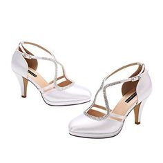 5a025a07059 Good height heel for bride. Women Low Heel Comfort Platform Ankle Strap  Platform Satin Evening