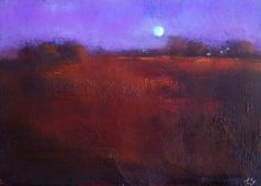 The Violet Sky #165, John O'Grady - in this painting I love the way the silver moon lights the bog to create a finely tuned arrangement of warm reds and other earth colours on the bogland.#art #irishlandscape