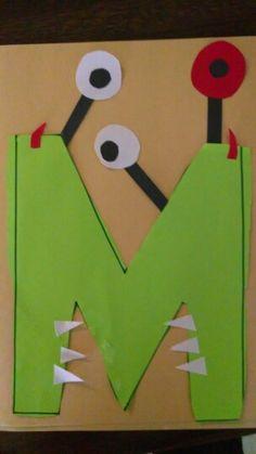 Letter M is for monster preschool / pre k craft or project . Letter M is for m. Letter M Activities, Preschool Letter Crafts, Alphabet Letter Crafts, Abc Crafts, Preschool Projects, Classroom Crafts, Preschool Activities, Letter Art, Alphabet Book