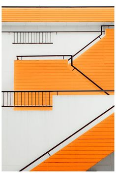 Striking orange staircase || #orange #stairs