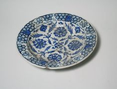 Dish, 18th century. Ceramic; stone paste, painted in blue and turquoise under a transparent colorless glaze, 2 5/16 x 11 7/16 in. (5.8 x 29 cm). Brooklyn Museum, Museum Collection Fund, 11.32. Creative Commons-BY (Photo: Brooklyn Museum, CUR.11.32_top.jpg)