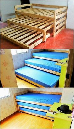 Inventive DIY Wood Pallet Projects for Your Home - Straight away into this wood pallet creation of ideal triple bunk bed piece, you will view the mode - Wooden Pallet Projects, Wooden Pallet Furniture, Wooden Pallets, Wooden Diy, Diy Furniture, Pallet Sofa, Furniture Plans, Kids Pallet Bed, Pallet Bunk Beds