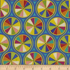 Asbury Wheels Blue/Multi from @fabricdotcom  Designed by Thomas Knauer for Andover Fabric, this cotton print includes colors of yellow, orange, green, teal and blue. Use for quilting, apparel, crafts and home decor accents.