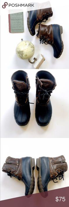 Sperry Duck Boots Cute chocolate brown and navy duck boots! Only worn a few times! No flaws! These are size 6, but run LARGE so they best fit size 7! Sperry Top-Sider Shoes Winter & Rain Boots