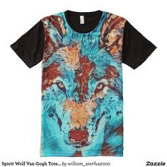 Spirit Wolf Van Gogh Totem Animal Graphic Tee All-Over Print Shirt
