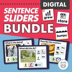 Looking for digital activities to do with your speech therapy students while distance learning or in teletherapy? These digital sentence sliders make it easy and fun to work on adjectives, past tense verbs, sentence formulation and more with this speech therapy activities bundle! Articulation Therapy, Articulation Activities, Language Activities, Sensory Activities For Autism, Speech Therapy Activities, Receptive Language, Speech And Language, Teaching Autistic Children, Figurative Language Activity