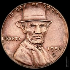 """Lincoln's Top Hat"" wheat penny engraved by Aleksey Saburov."