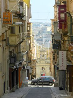 Valetta, the city of golden stone on Malta Island.Beautiful streets steeply slope down the harbour - visited Sept 2012