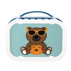 Cool Halloween bear with sunglasses holding pumpkin Lunch Boxes by #PLdesign #HalloweenBear #HalloweenGift