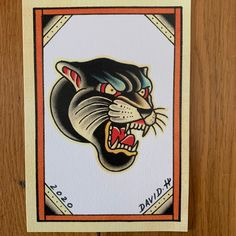 High quality Giclee print taken from a recent hand painted design I made. Professionally printed on high quality textured thick grade paper Size is A5 (148 x 210mm) All posted in cardboard backed envelopes for extra protection via Royal Mail standard postal service Traditional Tattoo Flash Sheets, Traditional Flash, American Traditional, Traditional Panther Tattoo, Traditional Tattoo Old School, Traditional Tattoos, Pantera Old School, Envelope Tattoo, Halloween Tattoo Flash