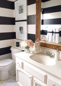 Black And White Stripes Gold Mirror