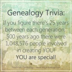 Genealogy Trivia: 500 years ago there were 1,048,576 people ...